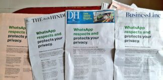 WhatsApp di Media Cetak India